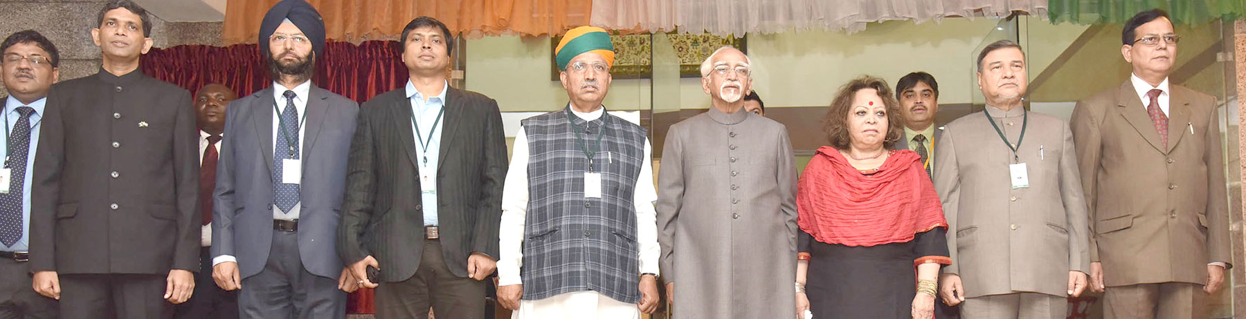 The Vice President, Shri M. Hamid Ansari and Smt. Salma Ansari at the New Building of the High Commission of India, in Abuja, Nigeria on September 26, 2016. The Minister of State for Finance and Corporate Affairs, Shri Arjun Ram Meghwal is also seen