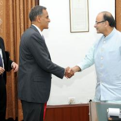 The US Ambassador to India, Mr. Richard R. Verma calling on the Union Minister for Finance, Shri Arun Jaitley, in New Delhi