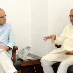 The Chief Minister of Bihar, Shri Nitish Kumar calling on the Union Minister for Finance, Shri Arun Jaitley, in New Delhi